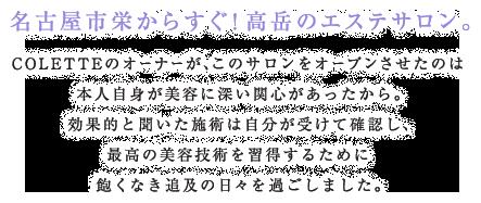 名古屋市栄からすぐ!高岳のエステサロン。 COLETTEのオーナーが、このサロンをオープンさせたのは 本人自身が美容に深い関心があったから。 効果的と聞いた施術は自分が受けて確認し、 最高の美容技術を習得するために 飽くなき追及の日々を過ごしました。